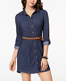 Ultra Flirt Juniors' Belted Denim Shirtdress