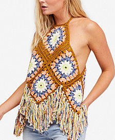Free People Summer Of Love Cotton Crochet Halter Top