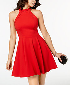 B Darlin Juniors' Mock-Neck Crochet-Trimmed Fit & Flare Dress