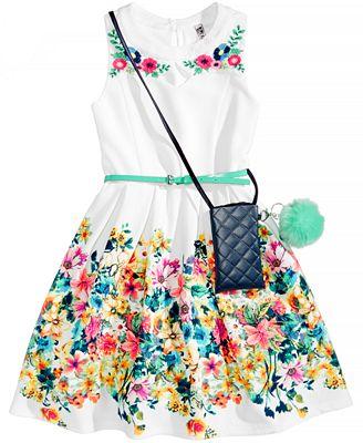 Beautees 2-Pc. Dress & Purse Set, Big Girls