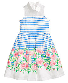 Bonnie Jean Striped Floral-Print Dress, Big Girls