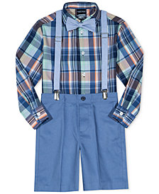 Nautica 4-Pc. Bow Tie, Plaid Shirt, Suspenders & Shorts Set, Toddler Boys