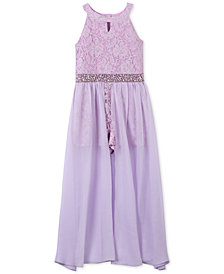 Speechless Glitter Lace Maxi Romper Overlay, Big Girls Plus