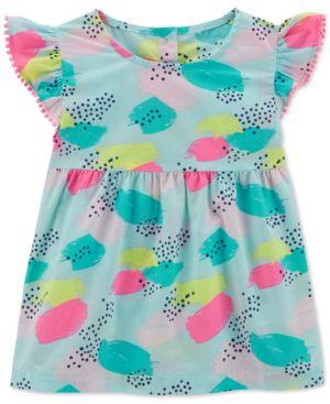 Carter's Pom Pom Trim Printed Cotton Top, Toddler Girls 5280575