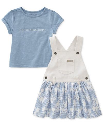 Calvin Klein 2-Pc. T-Shirt & Overall Dress Set, Little Girls