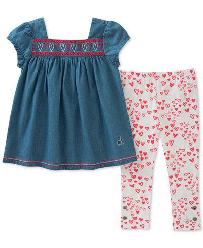 Calvin Klein 2-Pc. Denim Tunic & Heart-Print Leggings Set, Little Girls