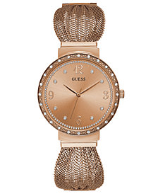 GUESS Women's Rose Gold-Tone Stainless Steel Mesh Bracelet Watch 36mm