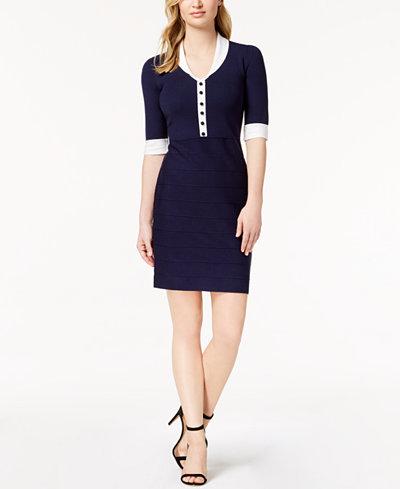 Anne Klein Button-Front Sweater Dress