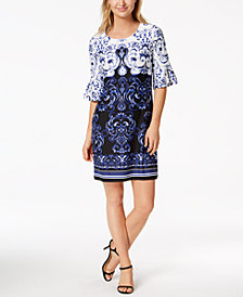 Charter Club Petite Printed Bell-Sleeve Shift Dress, Created for Macy's