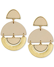 Lucky Brand Gold-Tone & Leather Geo Drop Earrings