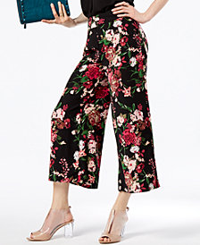 I.N.C. Petite Floral-Print Wide-Leg Capris, Created for Macy's