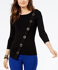 I.N.C. Asymmetrical Grommet-Embellished Sweater, Created for Macy's