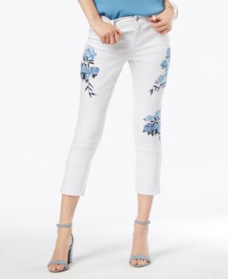 I.N.C. Floral-Embroidered Cropped Jeans, Created for Macy's