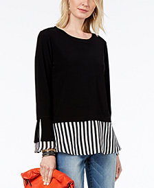 I.N.C. Striped-Contrast Layered-Look Top, Created for Macy's