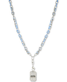 "GUESS Silver-Tone Pavé & Blue Link Dog Tag Pendant Necklace, 28"" + 2"" extender"