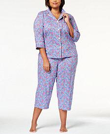 Lauren Ralph Lauren Classic Wovens Plus Size Floral-Print Pajama Set