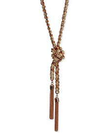 GUESS Silver-Tone Woven Blue Twisted Tassel Lariat Necklace