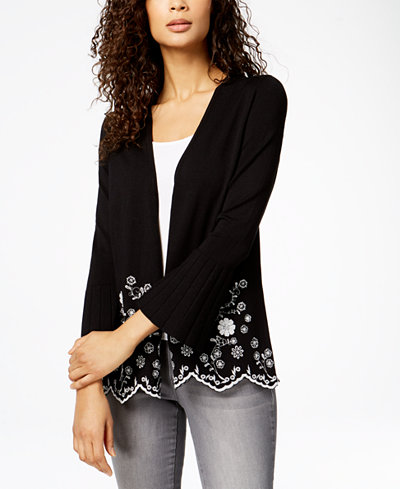Charter Club Embroidered Open-Front Cardigan, Created for Macy's