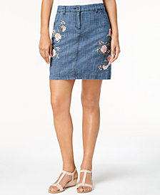 Karen Scott Petite Embroidered Denim Skort, Created for Macy's