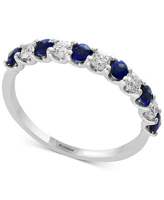 Gemstone Bridal By Effy® Sapphire (1/2 Ct. T.W.) & Diamond (1/4 Ct. T.W.) Band In 18k White Gold by Effy Collection