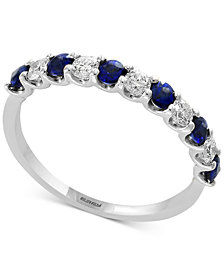 Gemstone Bridal by EFFY® Sapphire (1/2 ct. t.w.) & Diamond (1/4 ct. t.w.) Band in 18k White Gold(Also Available in Ruby, Emerald, & Pink Sapphire)