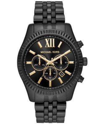 Men's Chronograph Lexington Black Stainless Steel Bracelet Watch 44mm