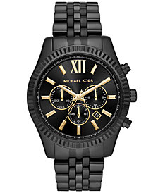 Michael Kors Men's Chronograph Lexington Black Stainless Steel Bracelet Watch 44mm