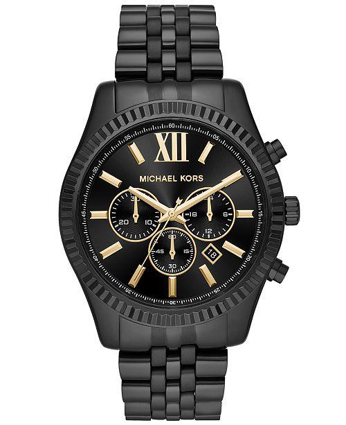 Michael Kors Men's Chronograph Lexington Black Stainless Steel Bracelet Watch 44mm