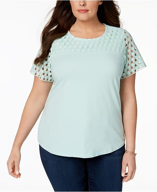 Plus Size Crochet-Sleeve T-Shirt, Created for Macy's