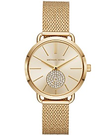 Michael Kors Women's Portia Gold-Tone Stainless Steel Mesh Bracelet Watch 37mm