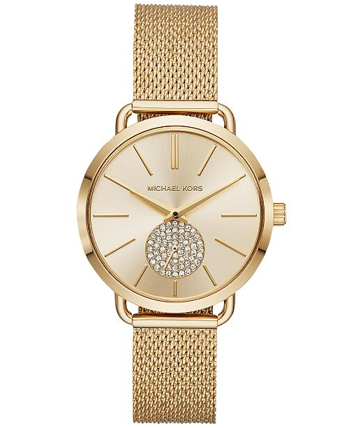 Michael Kors Women's Portia Gold-Tone Stainless Steel Mesh Bracelet Watch 37mm