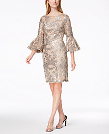 Calvin Klein Sequined Lace Bell-Sleeve Dress