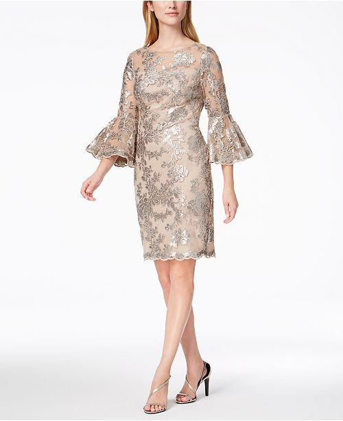 31b1dce5 Calvin Klein Sequined Lace Bell-Sleeve Dress & Reviews - Dresses ...