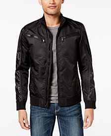I.N.C. Men's Faux Leather Trim Bomber Jacket, Created for Macy's