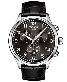 Men's Swiss Chronograph Chrono XL Classic T-Sport Black Leather Strap Watch 45mm