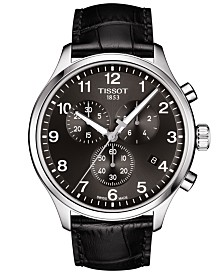 Tissot Men's Swiss Chronograph Chrono XL Classic T-Sport Black Leather Strap Watch 45mm