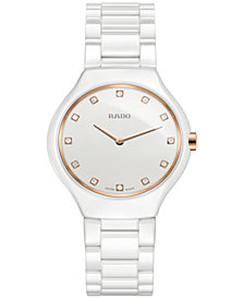 Rado Women's Swiss True Thinline Diamond-Accent White High-Tech Ceramic Bracelet Watch 30mm