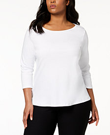 Eileen Fisher Plus Size Three-Quarter-Sleeve Ballet-Neck Top