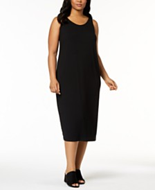 Eileen Fisher Plus Size SYSTEM Sleeveless Stretch Jersey Midi Dress