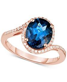 London Blue Topaz  (3 ct. t.w.) & Diamond (1/6 ct. t.w.) Ring in 14k Rose Gold