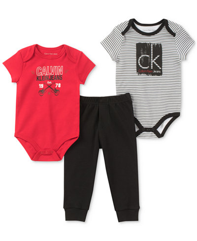 Calvin Klein 3-Pc. Bodysuits & Pants Set, Baby Boys