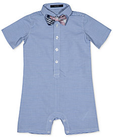 Nautica Striped Romper & Bowtie, Baby Boys