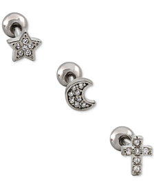 I.N.C. Stainless Steel 3-Pc. Set Multi-Design Cartilage Studs, Created for Macy's