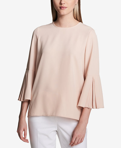 Calvin Klein Pleated Bell-Sleeve Top