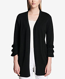Calvin Klein Tiered-Sleeve Open-Front Cardigan