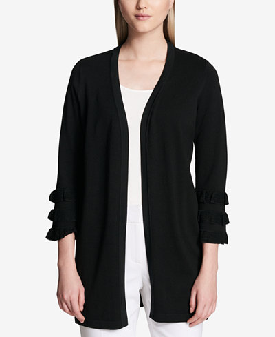 Calvin Klein Tiered-Sleeve Open-Front Cardigan