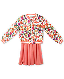 Speechless 2-Pc. Floral-Print Bomber Jacket & Skater Dress Set, Big Girls