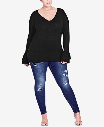City Chic Trendy Plus Size Ruffle-Cuff Sweater