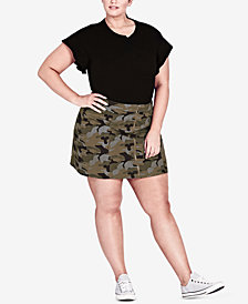 City Chic Trendy Plus Size Cotton Camo-Print Skirt