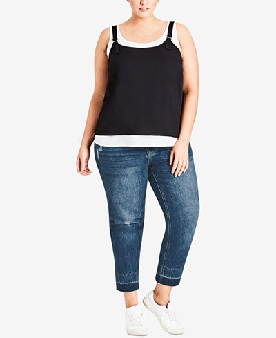 City Chic Trendy Plus Size Layered-Look Tank Top